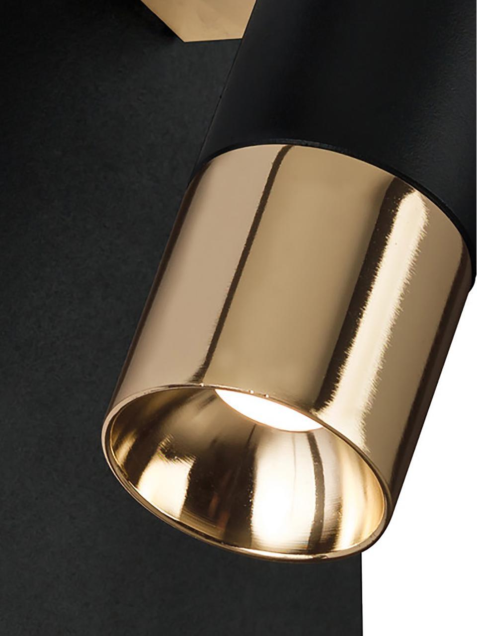 LED-Wandstrahler Bobby, Gestell: Metall, Lampenschirm: Metall, Schwarz,Goldfarben, 7 x 15 cm