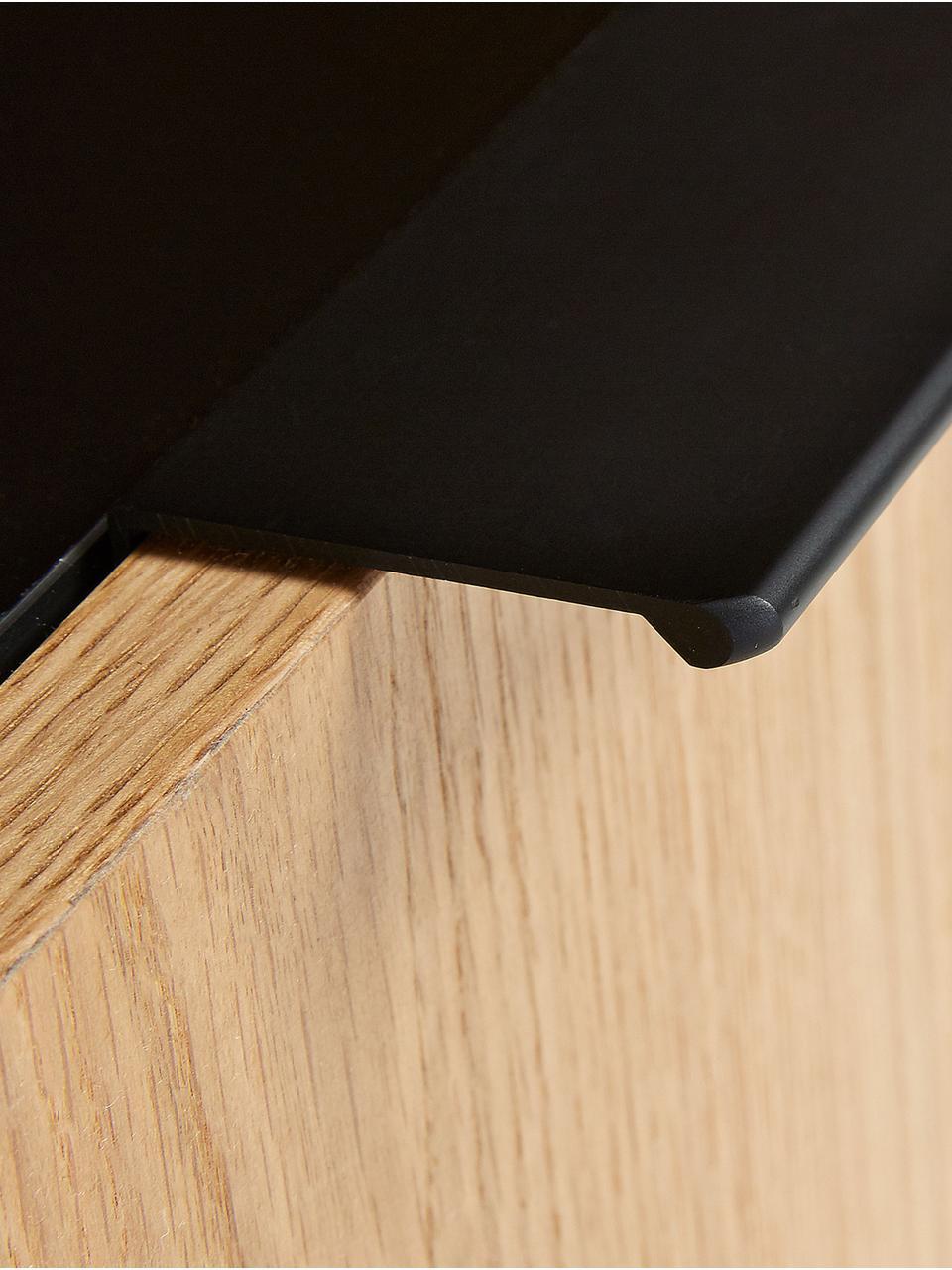 Highboard Stellar mit Türen aus Eichenholzfurnier, Korpus: Mitteldichte Holzfaserpla, Front: Mitteldichte Holzfaserpla, Füße: Metall, beschichtet, Schwarz, Eichenholz, 100 x 150 cm