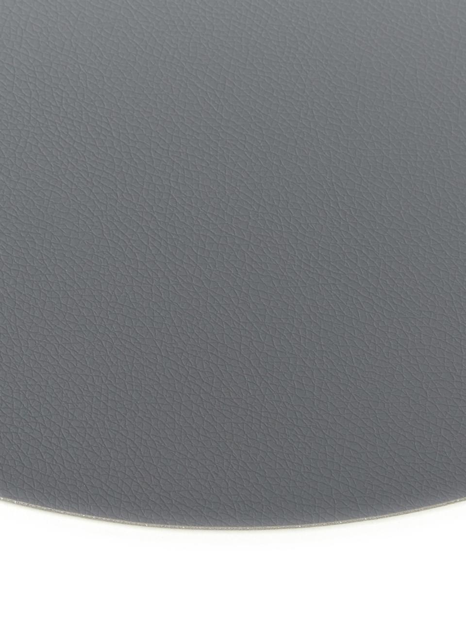 Tovaglietta americana rotonda in similpelle Pik 2 pz, Materiale sintetico (PVC), Antracite, Ø 38 cm