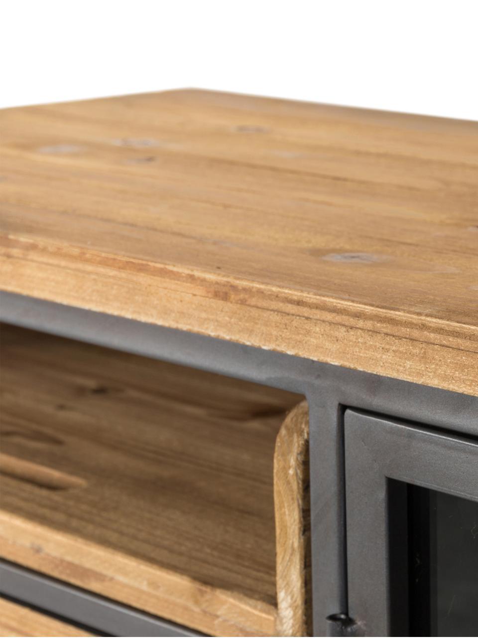 Szafka z drewna i metalu  z szufladami Damian, Podstawa szafki, rama, uchwyty, nogi: szary Szuflady: drewno jodłowe, S 113 x W 75 cm
