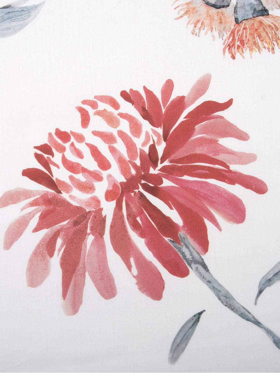 Parure copripiumino reversibile in raso di cotone Evie, Tessuto: raso Densità del filo 210, Stampa floreale, bianco, 155 x 200 cm