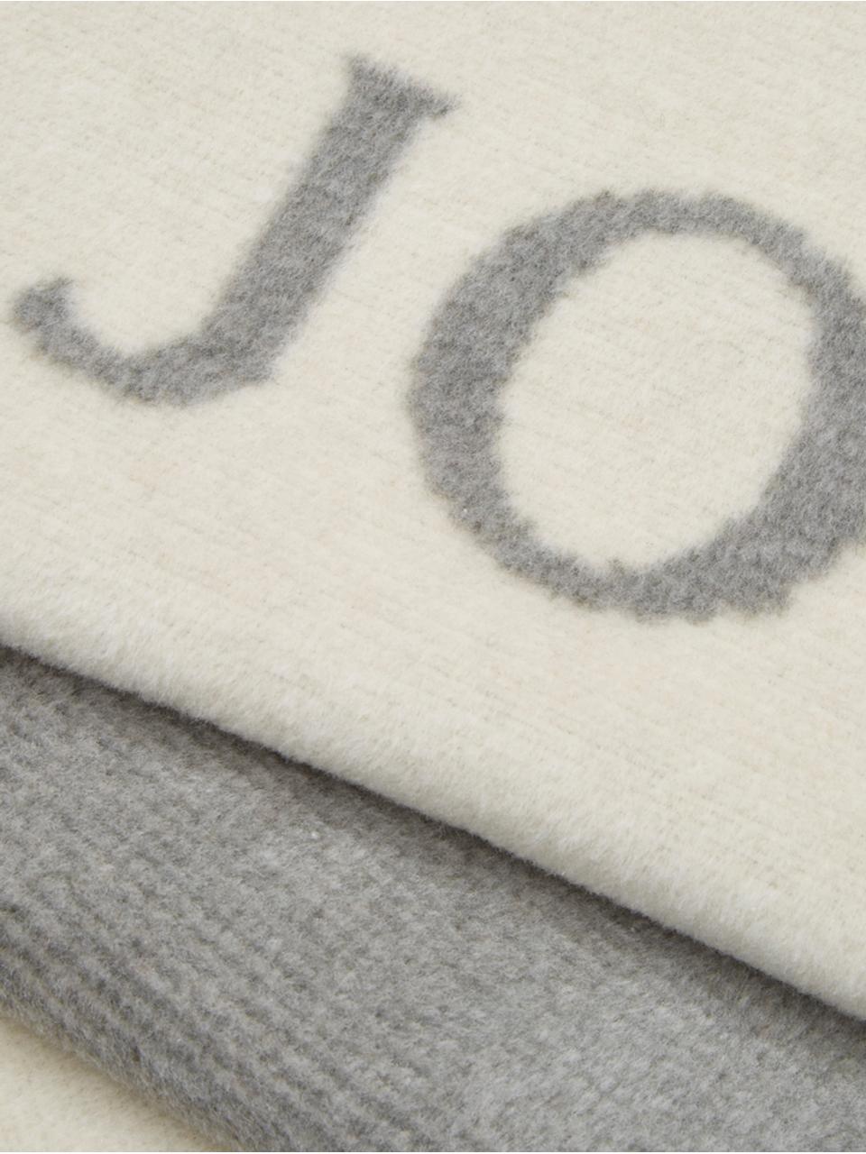 Coperta in morbido pile Melange Doubleface, 58% cotone, 35% poliacrilico, 7% poliestere, Bianco latteo, grigio, Larg. 150 x Lung. 200 cm