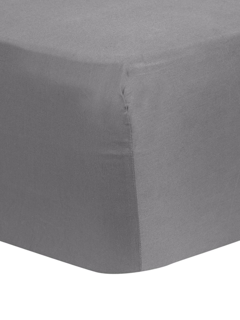 Hoeslaken Comfort in donkergrijs, katoensatijn, Weeftechniek: satijn, licht glanzend, Donkergrijs, 180 x 200 cm