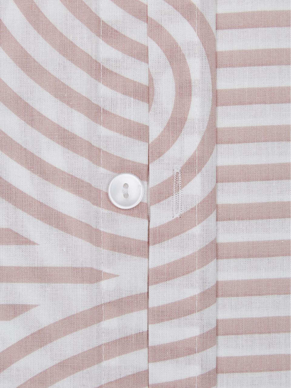 Gemusterte Baumwoll-Bettwäsche Arcs in Altrosa/Weiß, Webart: Renforcé Fadendichte 144 , Rosa,Weiß, 240 x 220 cm + 2 Kissen 80 x 80 cm