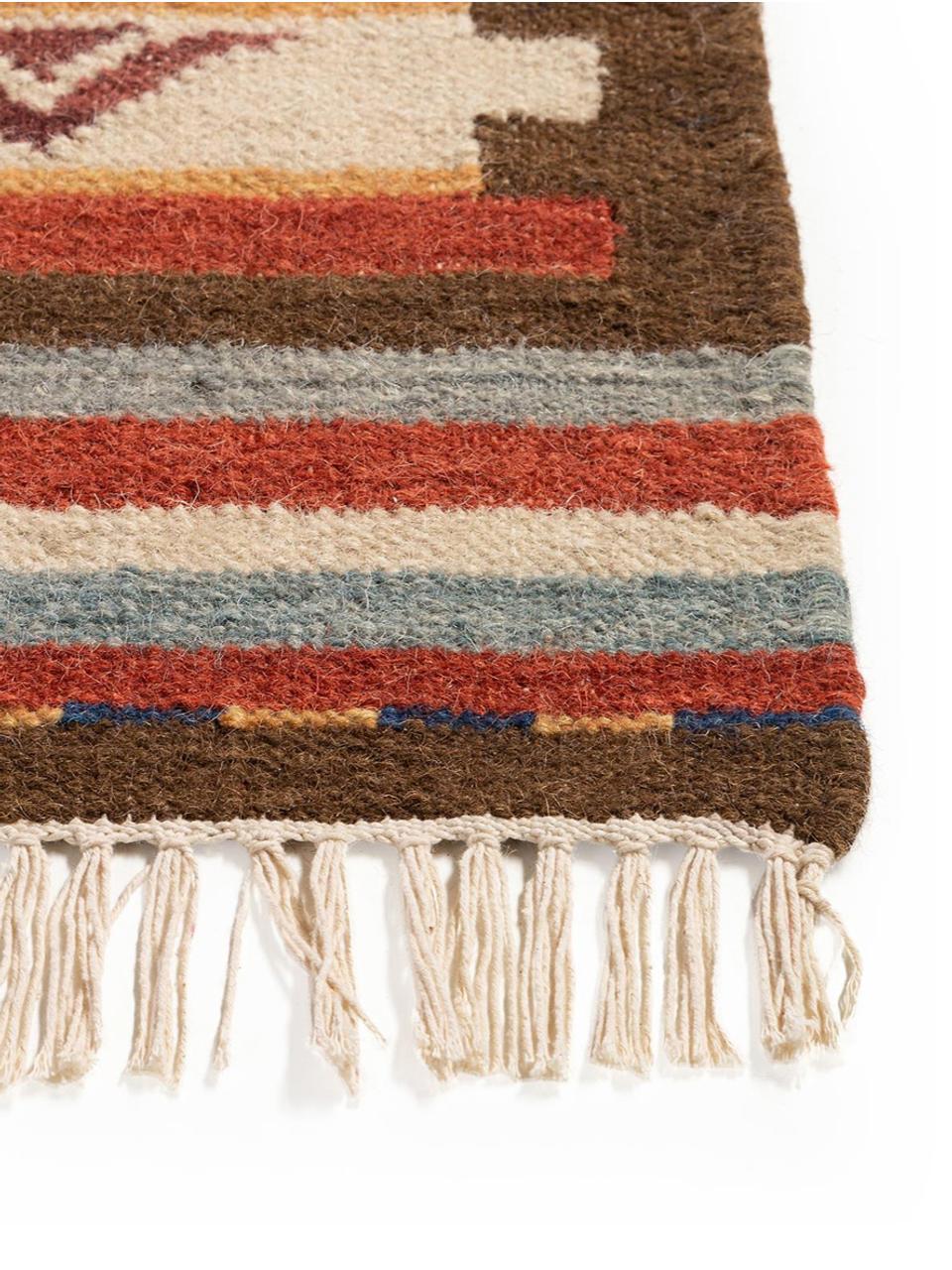 Handgewebter Kelimteppich Zohra aus Wolle, Flor: 90% Wolle, 10% Baumwolle, Rot, Mehrfarbig, B 160 x L 230 cm (Größe M)