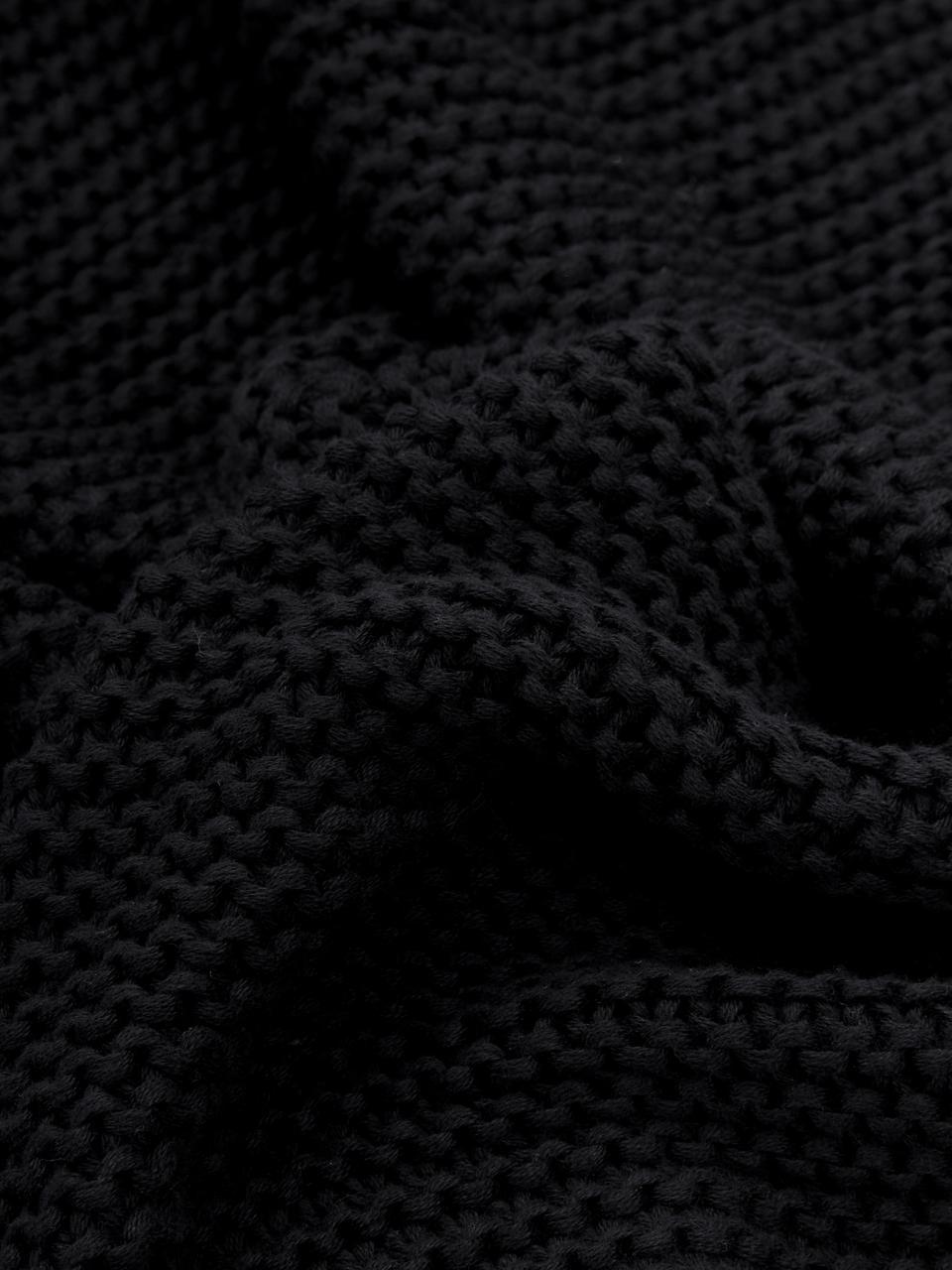 Strick-Plaid Adalyn in Schwarz, 100% Baumwolle, Schwarz, 150 x 200 cm