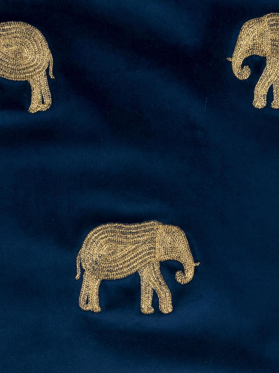 Federa arredo in velluto ricamato Elefco, 100% velluto di poliestere, Blu scuro, dorato, Larg. 40 x Lung. 40 cm