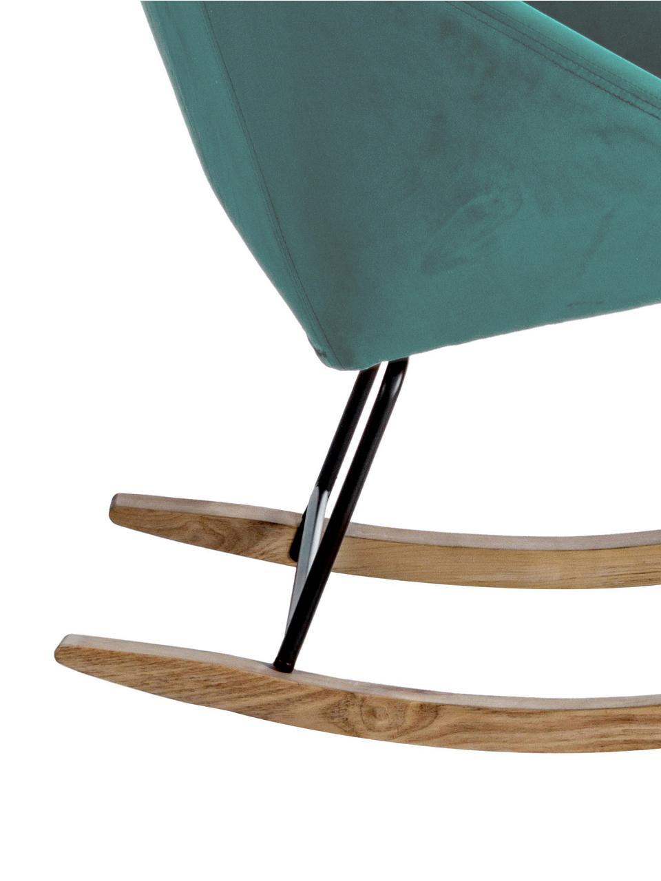 Samt-Schaukelstuhl Annika in Grün, Bezug: Polyestersamt 70.000 Sche, Gestell: Metall, pulverbeschichtet, Korpus: Sperrholz, Metall, Samt Pfauenblau, B 74 x T 87 cm