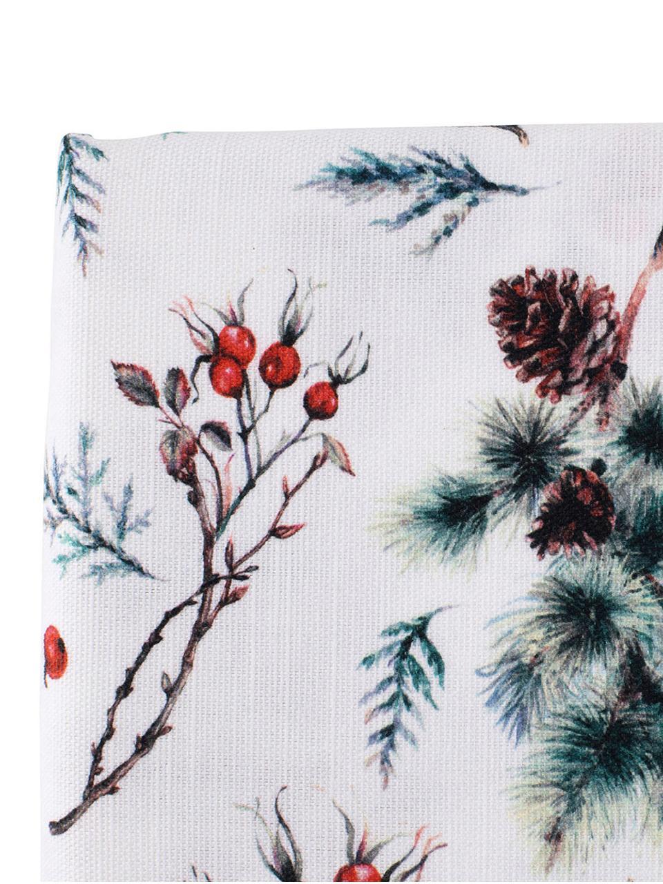 Tovaglia Aubepine, Cotone, Verde, rosso, Larg. 160 x Lung. 160 cm