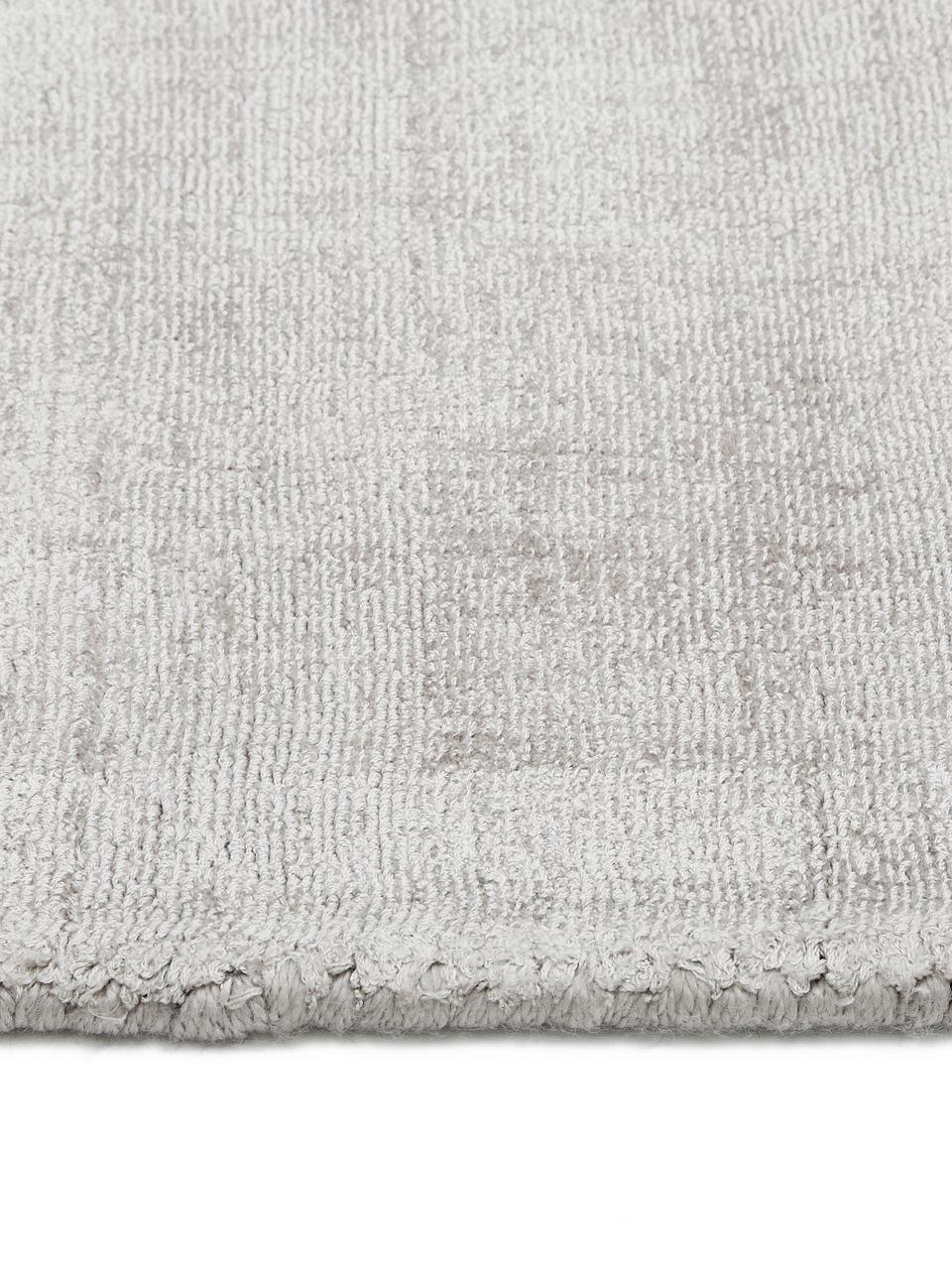 Handgewebter Viskoseläufer Jane in Hellgrau-Beige, Flor: 100% Viskose, Hellgrau-Beige, 80 x 250 cm