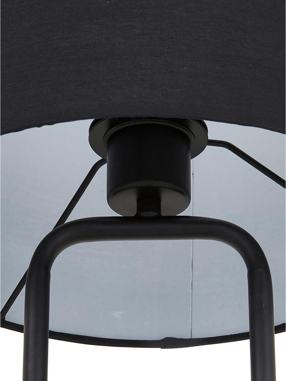 Große Tischlampe Pipero mit Betonfuß, Lampenschirm: Textil, Lampenfuß: Metall, pulverbeschichtet, Lampenschirm:SchwarzLampenfuß:Schwarz, matt, GrauKabel: Schwarz, Ø 28 x H 51 cm