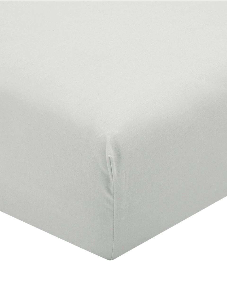 Hoeslaken Elsie in lichtgrijs, perkal, Weeftechniek: perkal, Lichtgrijs, 180 x 200 cm