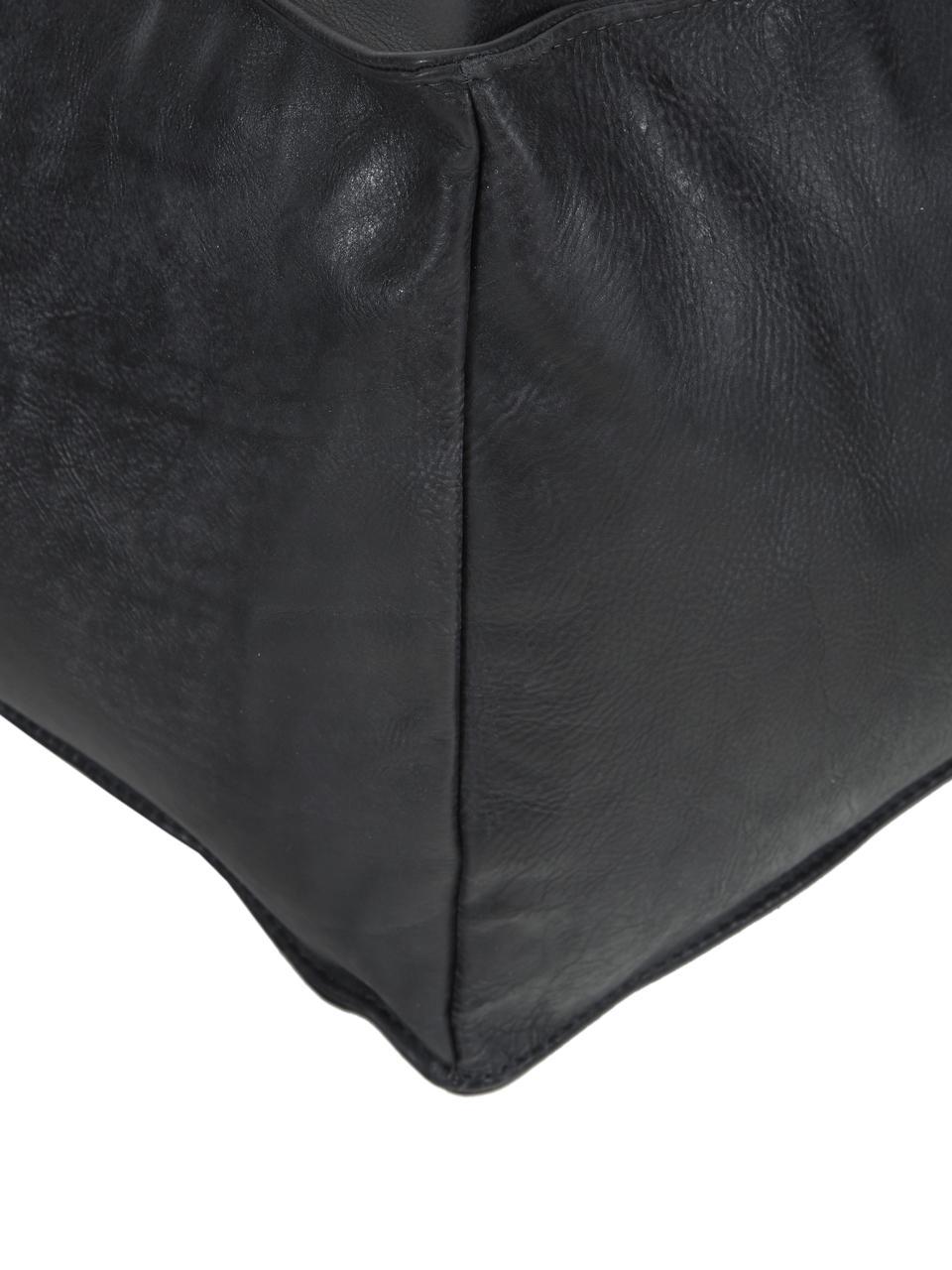 Lederpouf Porthos, Bezug: 100% Anilinleder, Schwarz, 80 x 33 cm