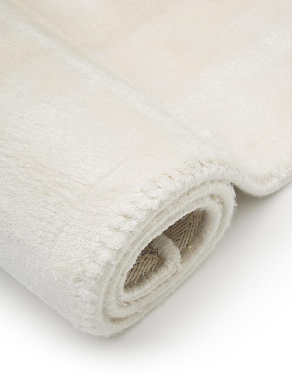 Tappeto in viscosa extra morbido Grace, Retro: 100% poliestere, Bianco crema, Larg. 80 x Lung. 150 cm (taglia XS)
