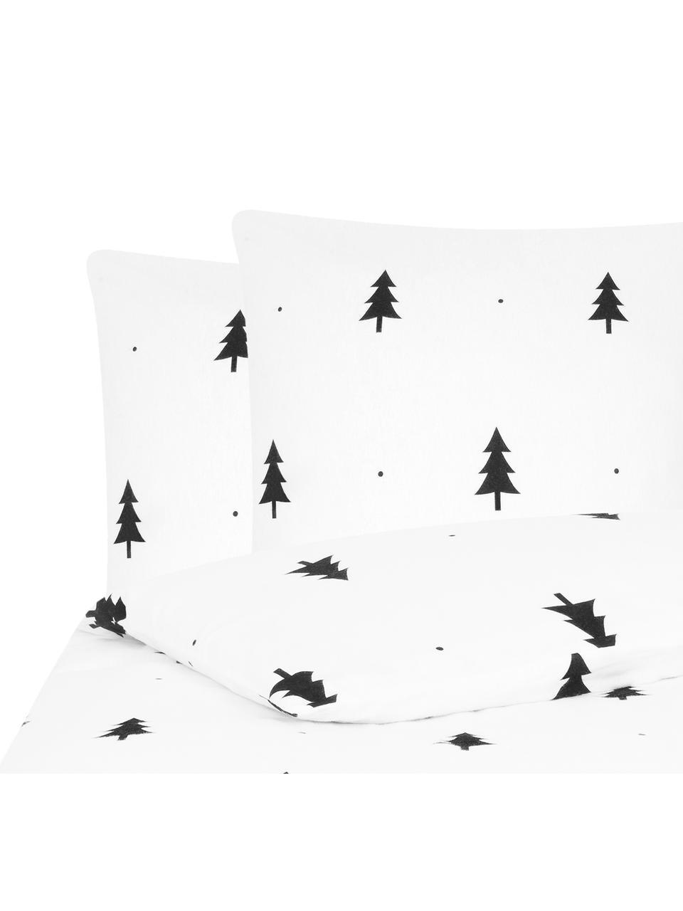 Flanell-Bettwäsche X-mas Tree mit Tannenbäumen, Webart: Flanell Flanell ist ein k, Weiss, Schwarz, 240 x 220 cm + 2 Kissen 80 x 80 cm