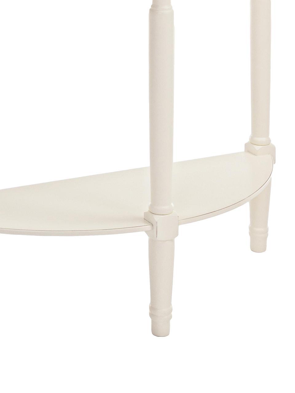 Półokrągła konsola Amabel, Nogi: drewno sosnowe, lakierowa, Biały, S 81 x G 30 cm