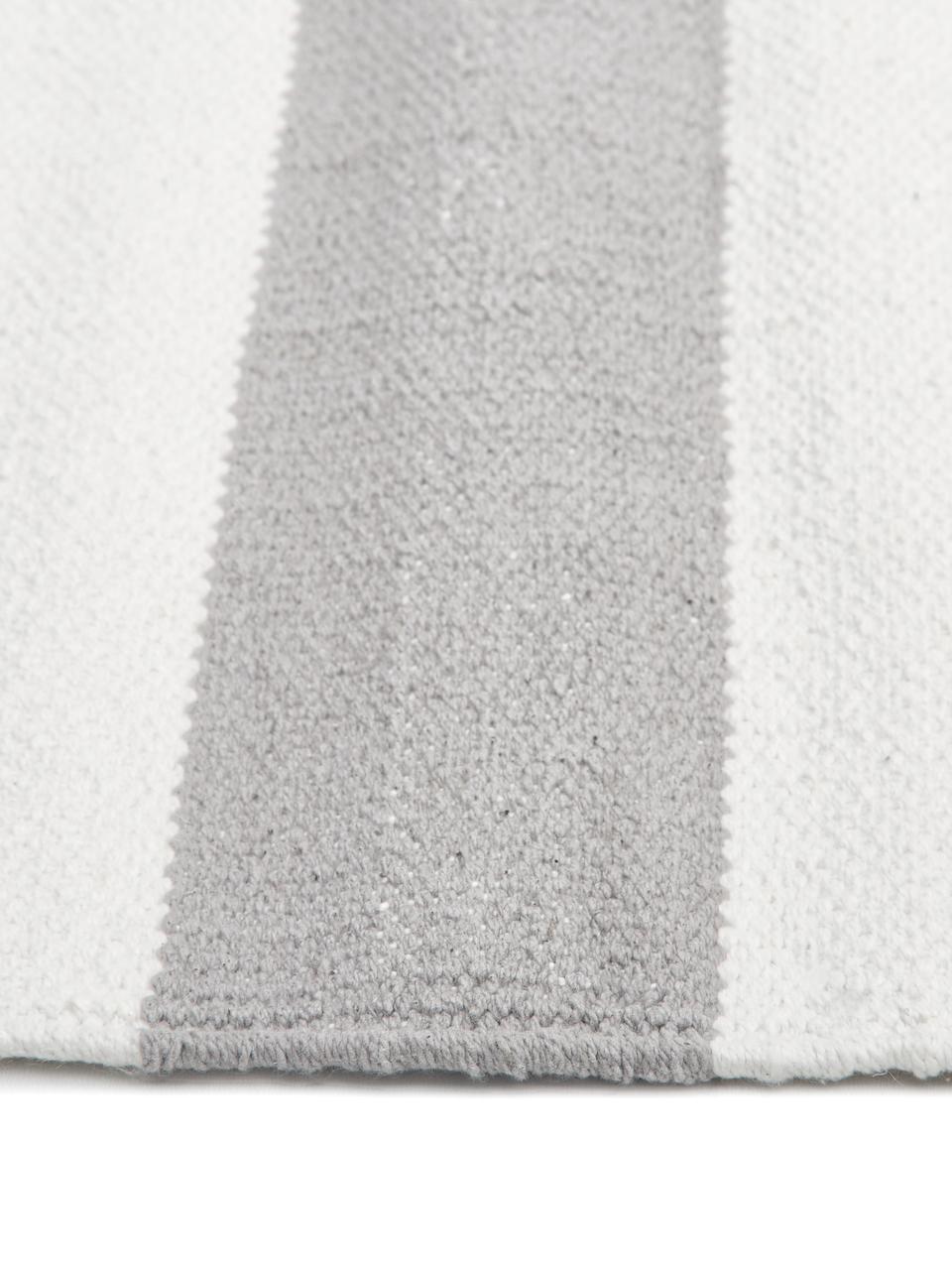 Tapis rayé gris blanc tissé main Blocker, Blanc crème/gris clair