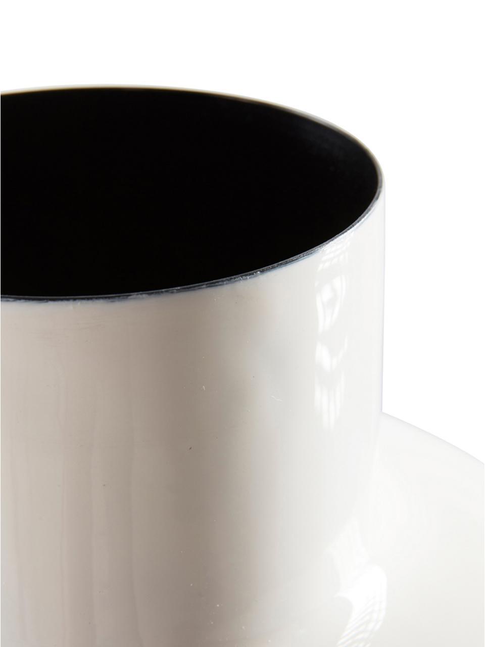 Vase Waco aus Metall, Metall, emailliert, Weiß, Ø 25 x H 43 cm