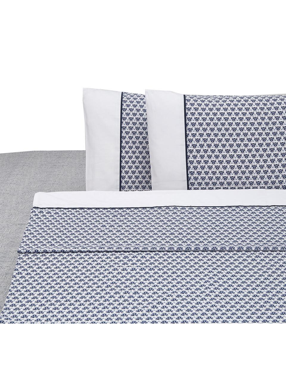 Set lenzuola in cotone Square, Cotone, Bianco, blu, 250 x 280 cm