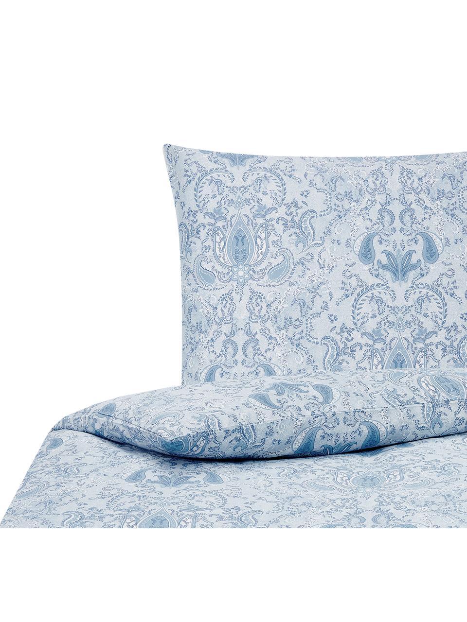 Baumwollsatin-Bettwäsche Grantham mit Paisley-Muster, Webart: Satin Fadendichte 200 TC,, Blau, 240 x 220 cm + 2 Kissen 80 x 80 cm