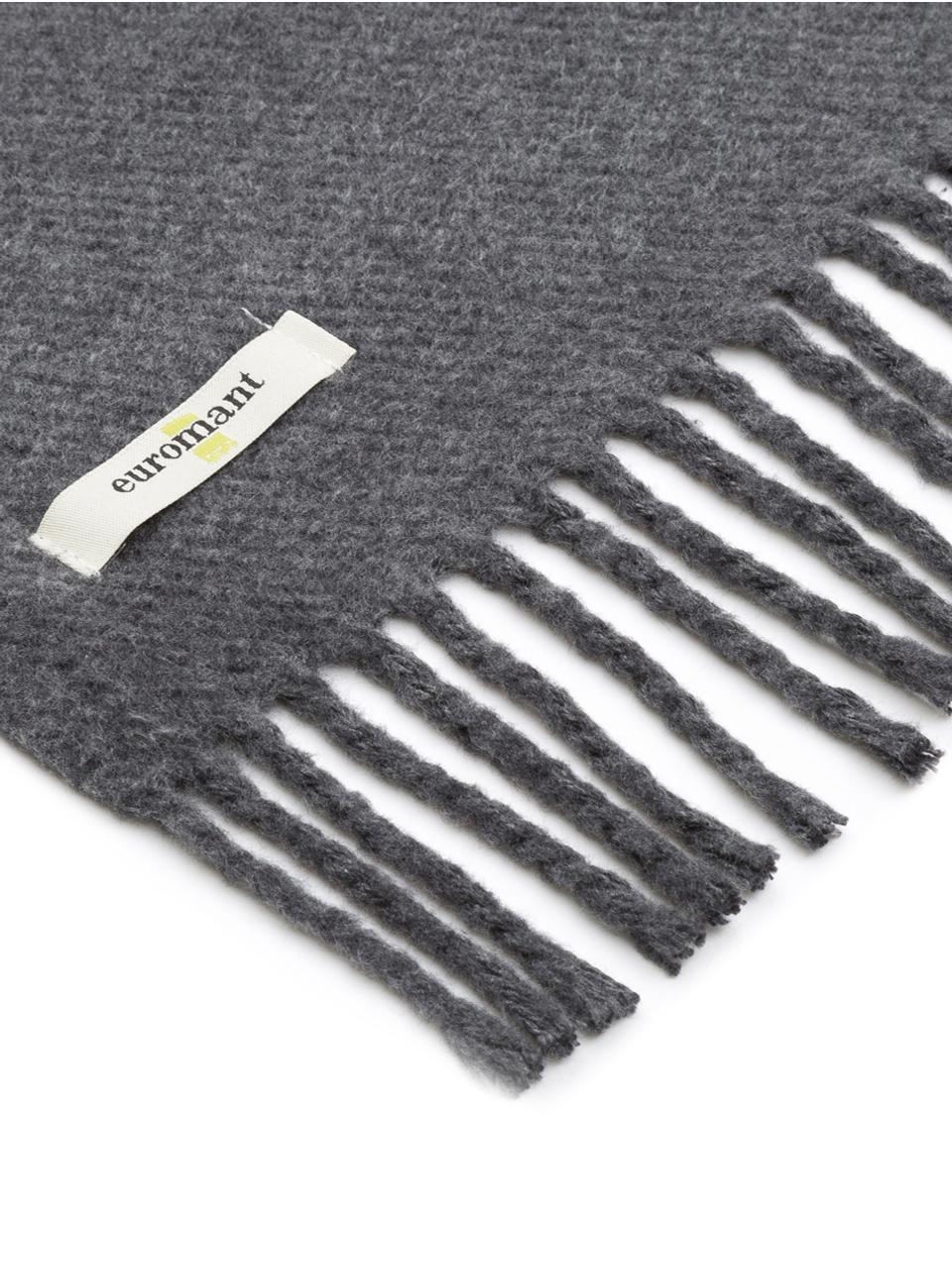Plaid grigio scuro con frange Plain, 50% cotone, 50% acrilico, Grigio scuro, Larg. 140 x  Lung.180 cm