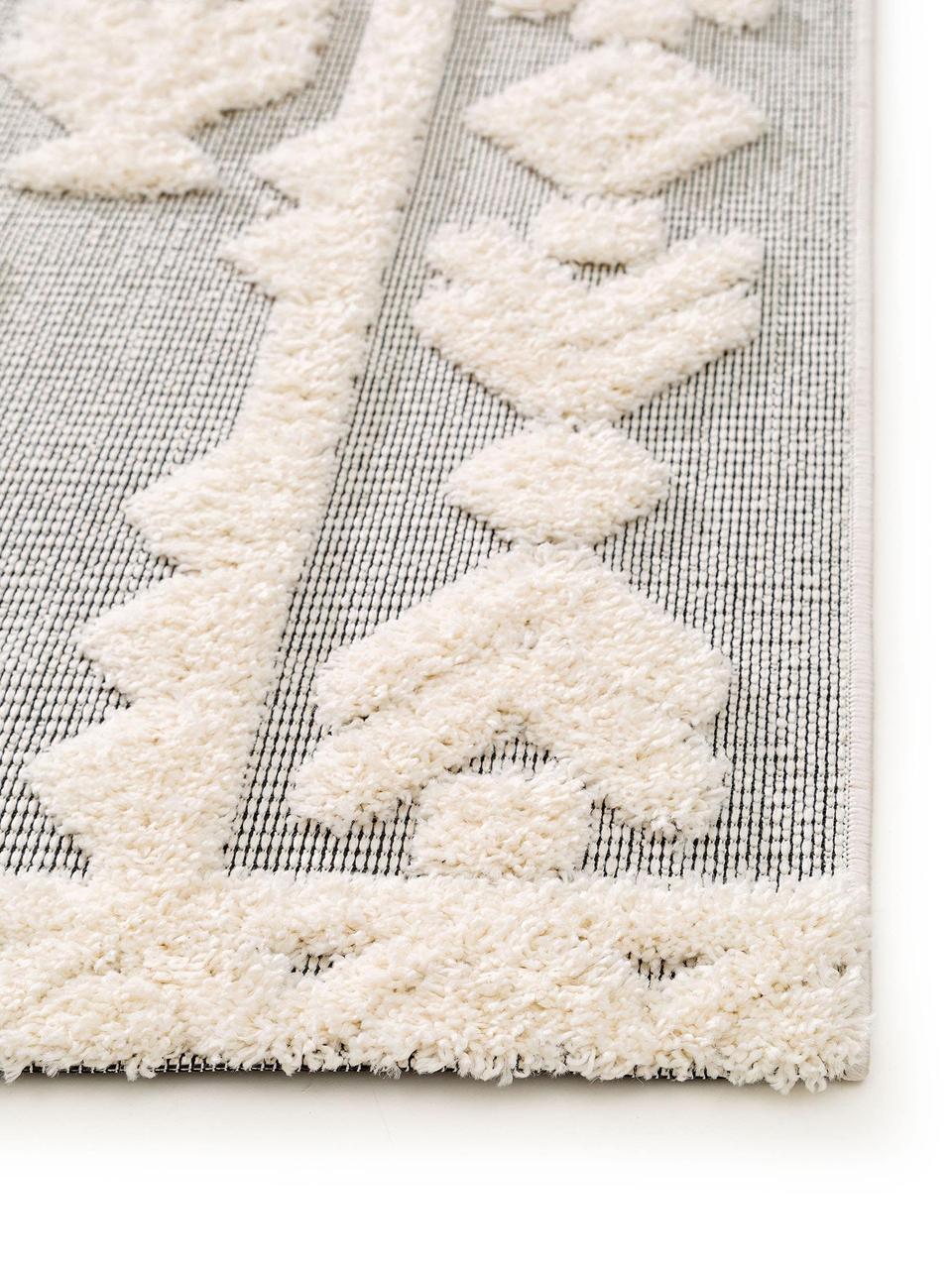 Ethno In- & Outdoor-Teppich Carlo mit Hoch-Tief-Struktur, 100% Polyethylen, Grau, Creme, B 120 x L 170 cm (Größe S)