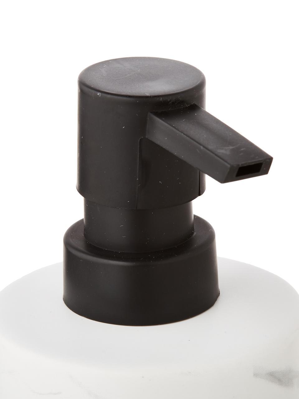 Keramieken zeeppompje Daro, Houder: keramiek, Pompje: gecoat metaal, Wit, zwart, Ø 7 x H 18 cm