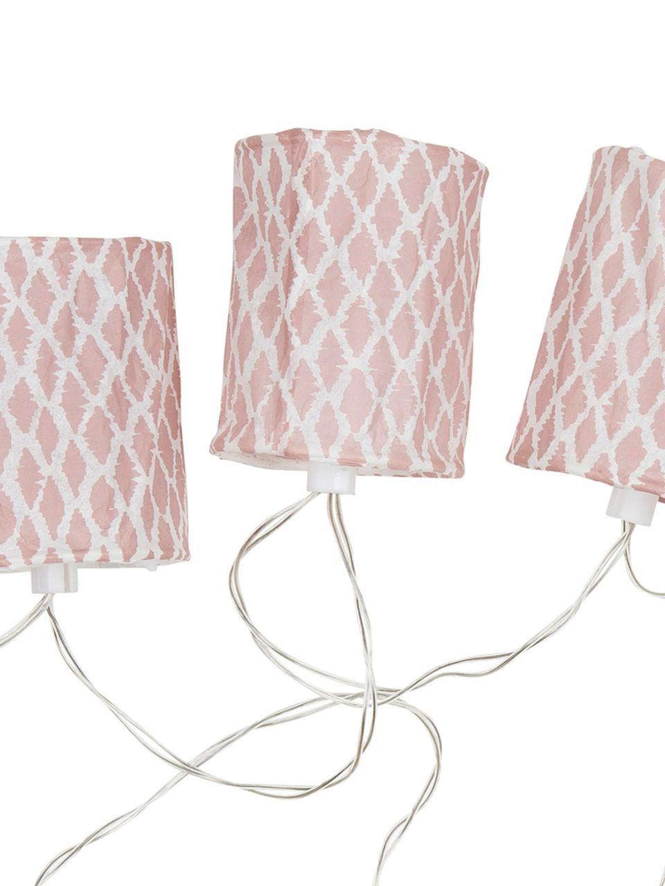 LED-Lichterkette Mosaic, 210 cm, Papier, Kunststoff, Weiß, Pink, L 210 cm
