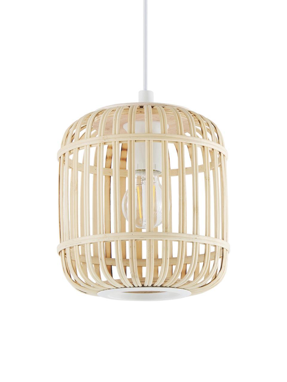 Kleine Pendelleuchte Adam aus Bambus, Lampenschirm: Bambus, Holz, Baldachin: Metall, pulverbeschichtet, Weiß, Beige, Ø 21 x H 24 cm