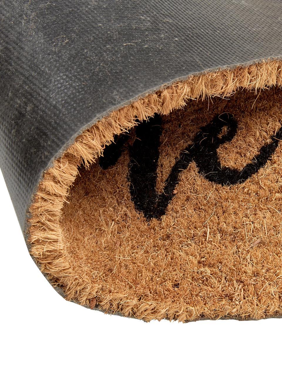 Fußmatte Wilkommen, Flor: Kokosfaser, Flor: Beige, Schwarz Rücken: Schwarz, 40 x 60 cm