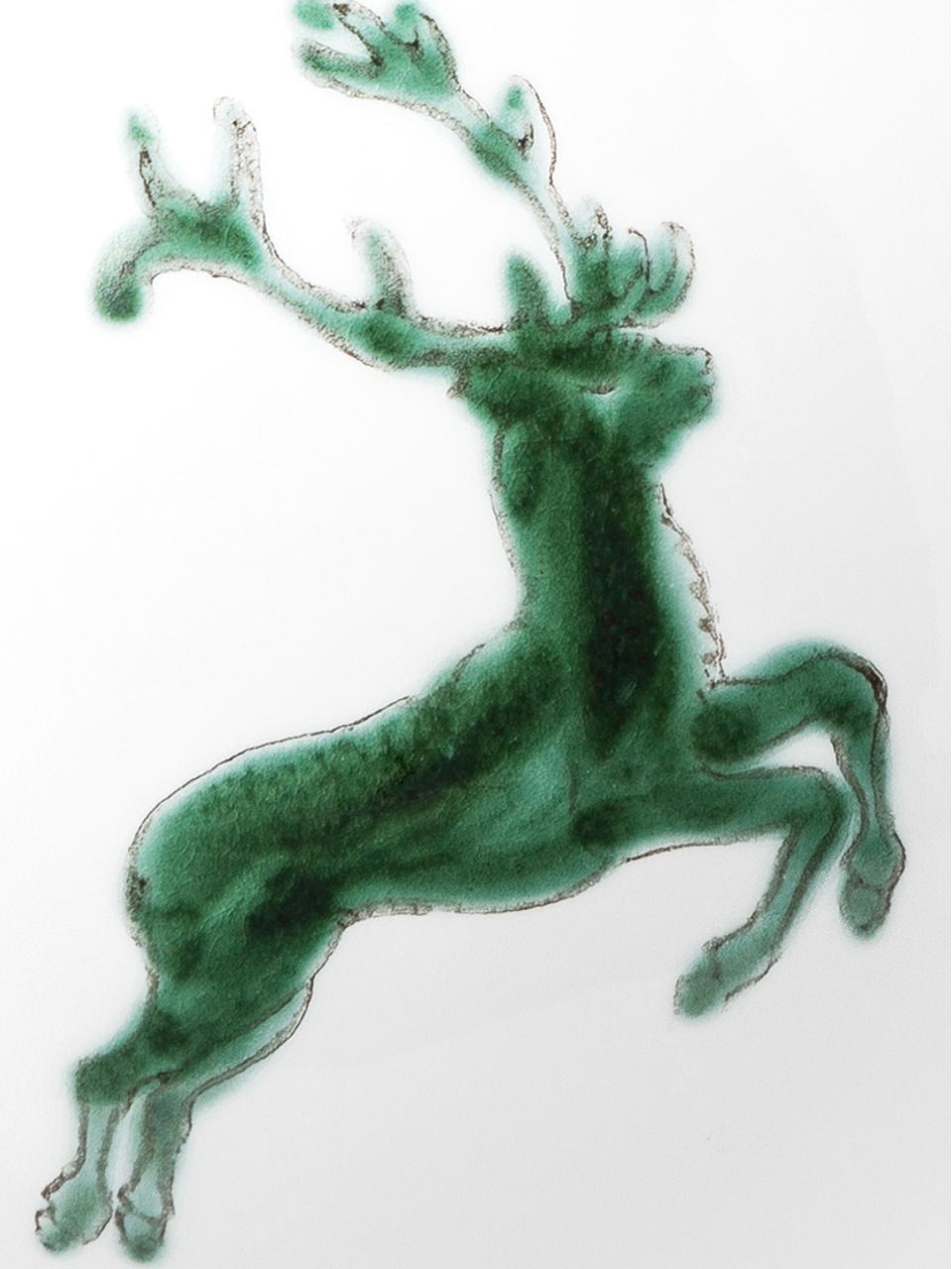 Handbeschilderde theepot Classic Green Deer, 500 ml, Keramiek, Groen, wit, 500 ml