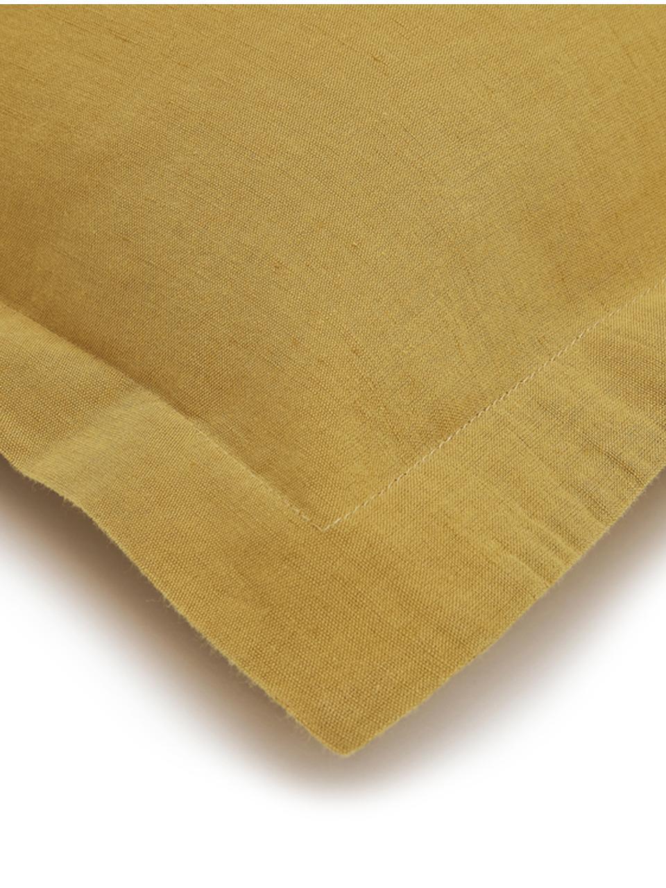 Gewaschene Leinen-Kissenbezüge Nature in Senfgelb, 2 Stück, Halbleinen (52% Leinen, 48% Baumwolle)  Fadendichte 108 TC, Standard Qualität  Halbleinen hat von Natur aus einen kernigen Griff und einen natürlichen Knitterlook, der durch den Stonewash-Effekt verstärkt wird. Es absorbiert bis zu 35% Luftfeuchtigkeit, trocknet sehr schnell und wirkt in Sommernächten angenehm kühlend. Die hohe Reißfestigkeit macht Halbleinen scheuerfest und strapazierfähig., Senfgelb, 40 x 80 cm