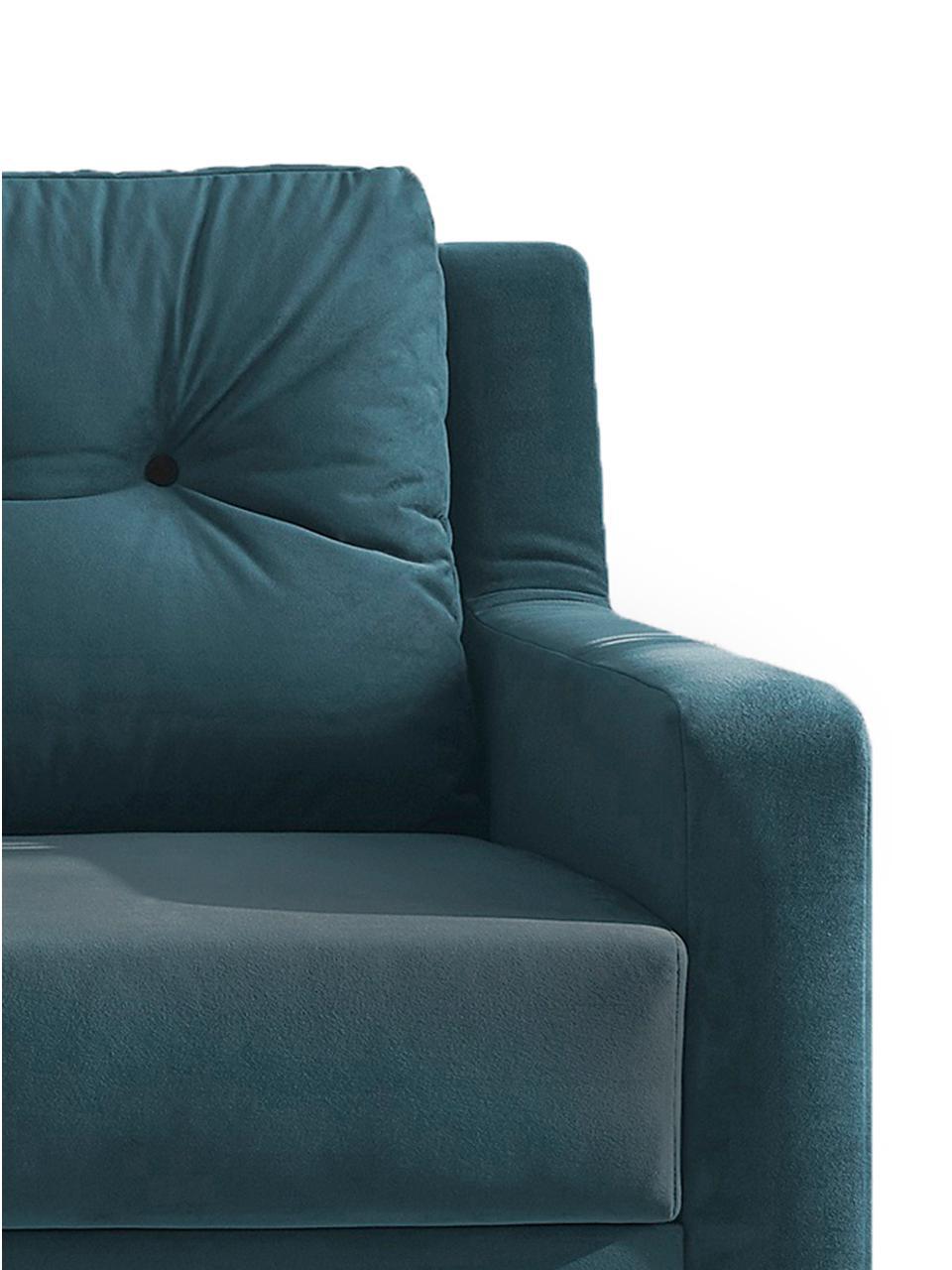 Sofa rozkładana z aksamitu Bergen (3-osobowa), Tapicerka: 100% aksamit poliestrowy, Nogi: metal lakierowany, Niebieski, S 222 x G 92 cm