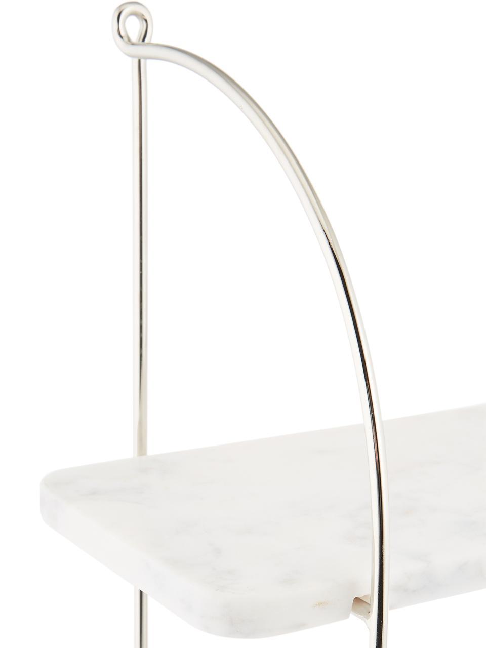 Półka ścienna z marmuru Porter, Mocowanie ścienne: stal szlachetna, półki: biały, marmurowy, S 40 x W 58 cm