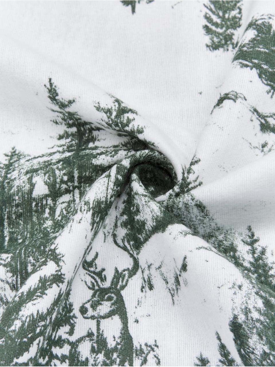 Flanell-Bettwäsche Nordic mit winterlichem Motiv, Webart: Flanell Flanell ist ein k, Grün, Weiß, 135 x 200 cm + 1 Kissen 80 x 80 cm