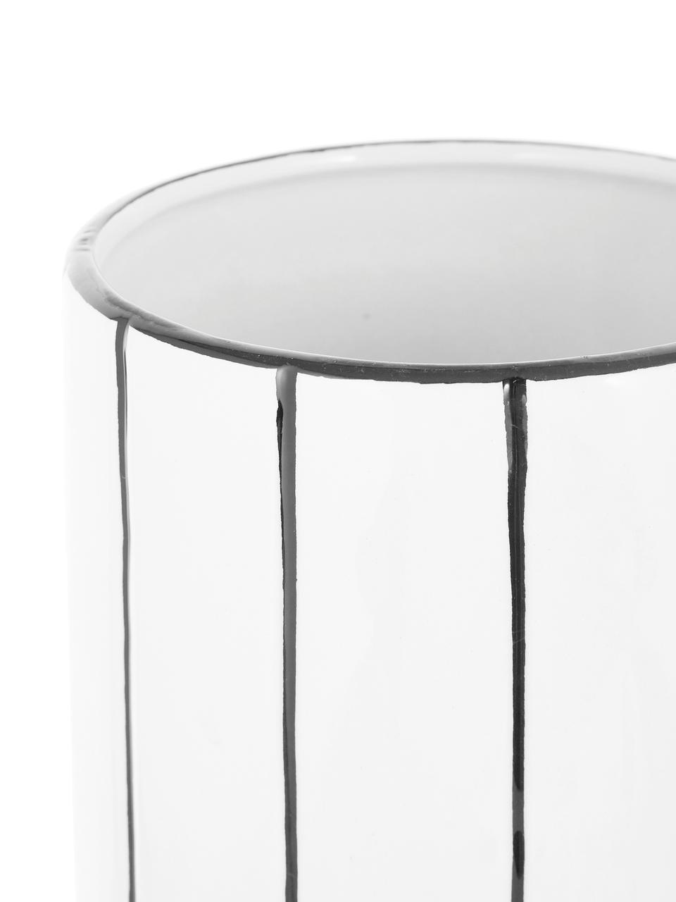 Übertopf Reno aus Steingut, Steingut, Weiß, Schwarz, Ø 14 x H 20 cm
