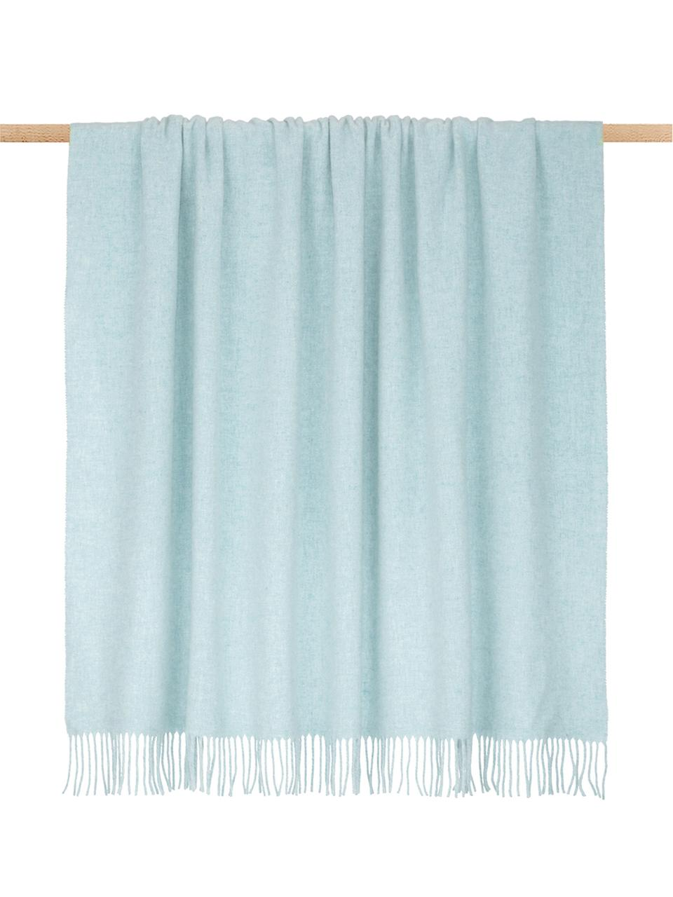 Plaid in lana leggero con finitura a frange Patriciu, 100% lana, Verde blu, Larg. 130 x Lung. 170 cm