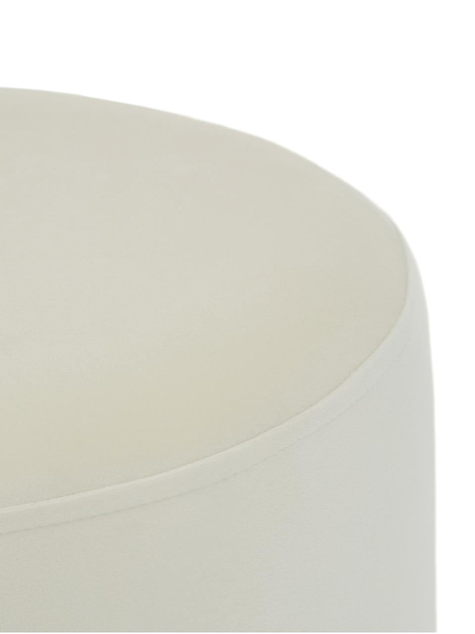 Tabouret velours Orchid, Revêtement: blanc crème Pied: couleur dorée