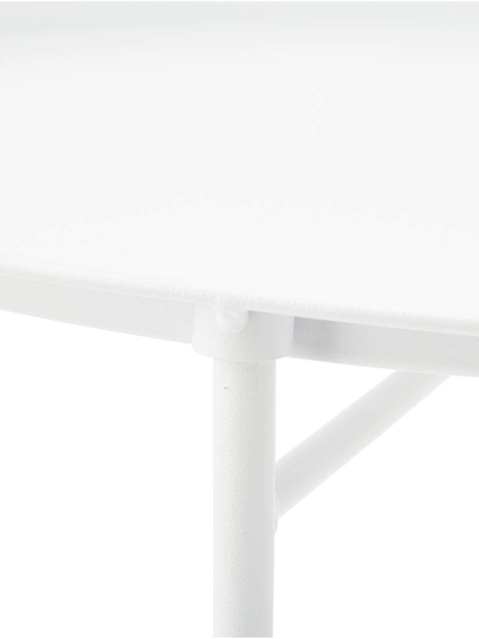 Tablett-Tisch Sangro aus Metall, Metall, pulverbeschichtet, Weiss, Ø 46 x H 52 cm