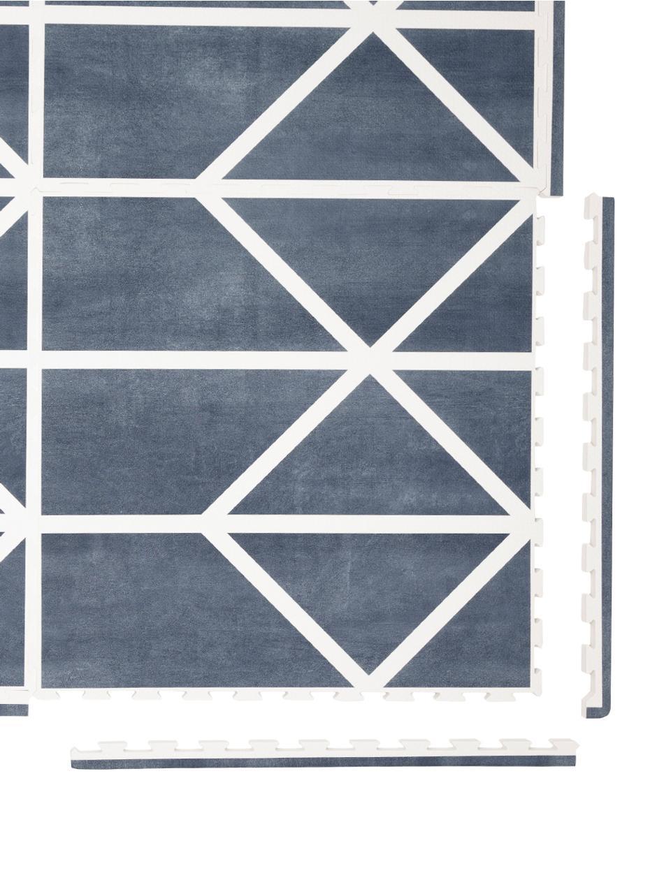 Skládací hrací rohož Nordic, 18 dílů, Modrá, krémová