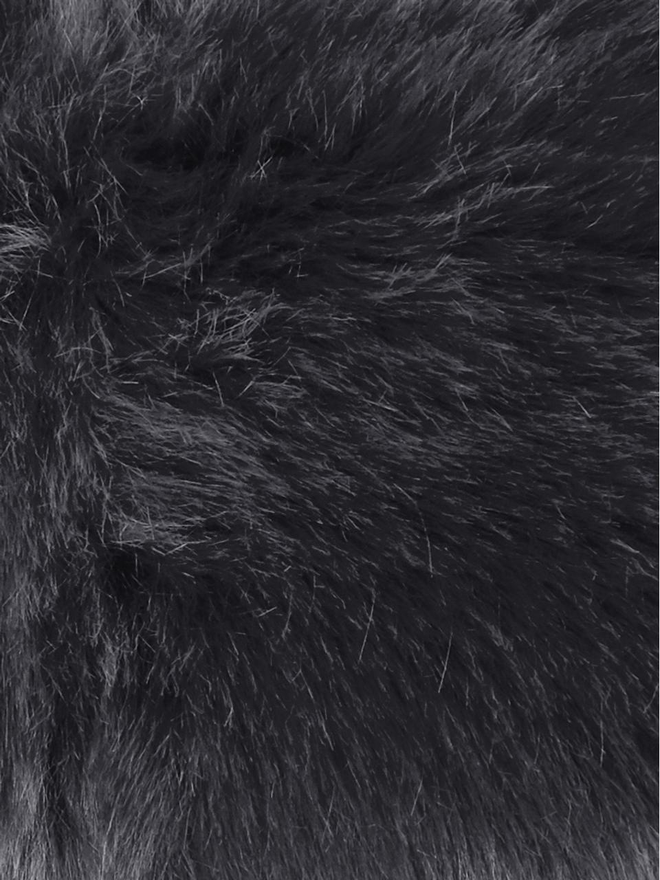 Flauschige Kunstfell-Kissenhülle Mathilde in Dunkelgrau, glatt, Vorderseite: 67% Akryl, 33% Polyester, Rückseite: 100% Polyester, Dunkelgrau, 30 x 50 cm