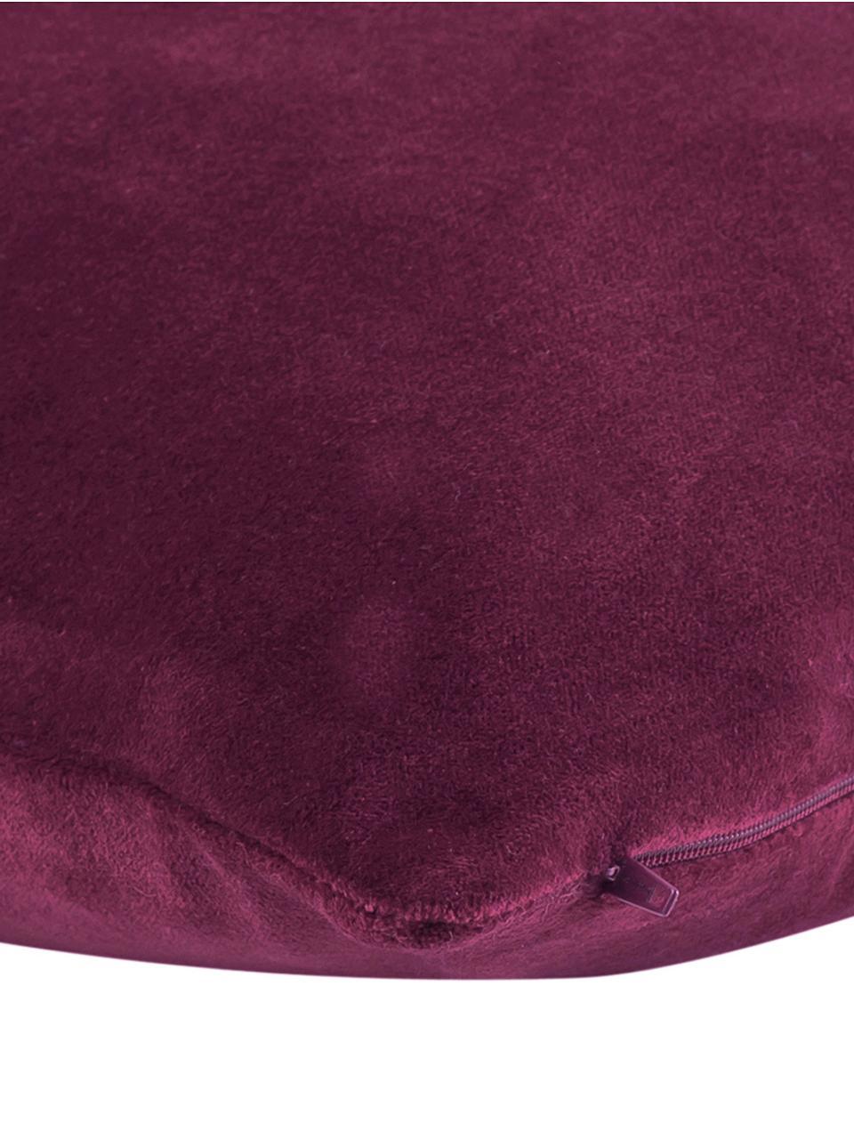 Einfarbige Samt-Kissenhülle Dana in Weinrot, 100% Baumwollsamt, Weinrot, 50 x 50 cm