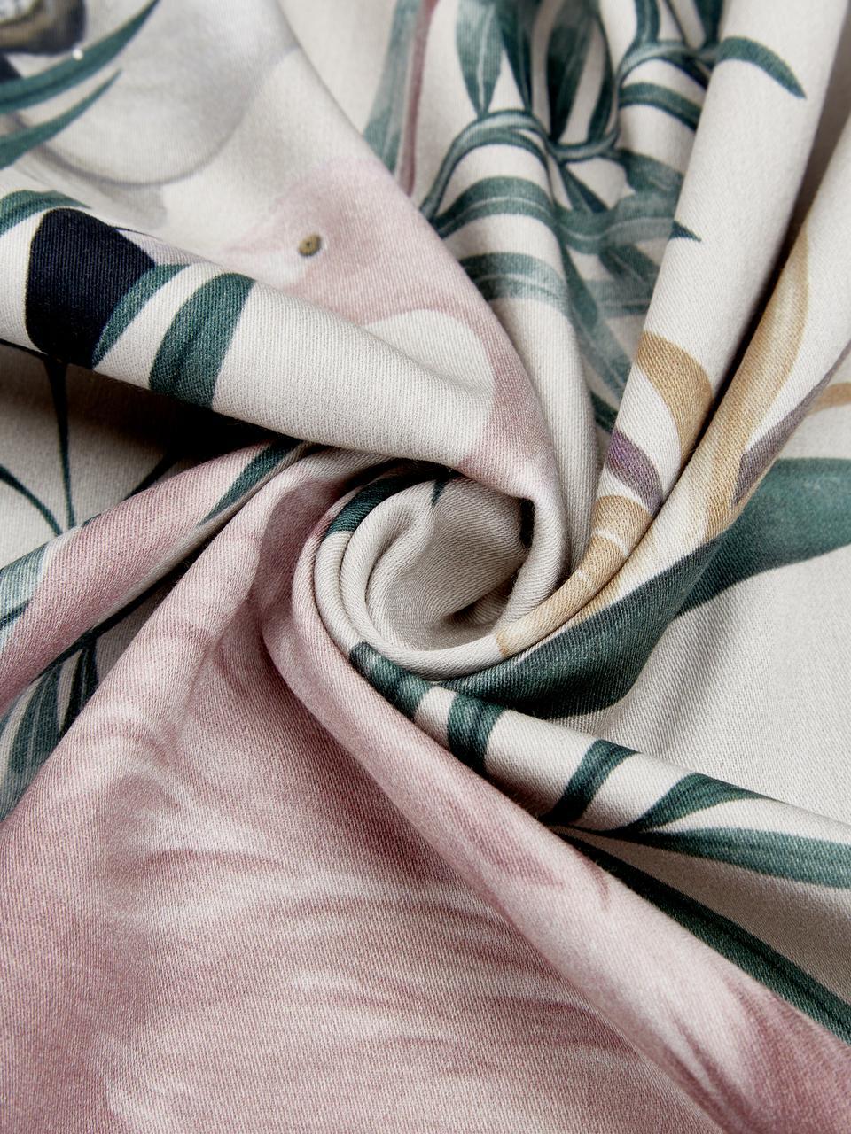 Baumwollsatin-Bettwäsche Elliana mit Flamingo-Print, Webart: Satin Fadendichte 200 TC,, Beige, Rosa, Grün, 240 x 220 cm + 2 Kissen 80 x 80 cm