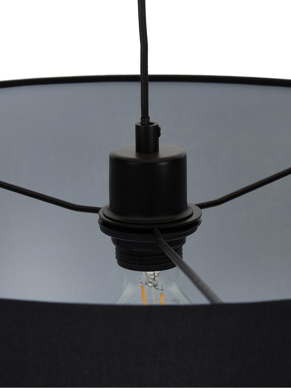Lampada ad arco moderna Niels, Paralume: poliestere cotone, Base della lampada: metallo verniciato a polv, Paralume: nero Base della lampada: nero opaco Cavo: nero, Larg. 157 x Alt. 218 cm