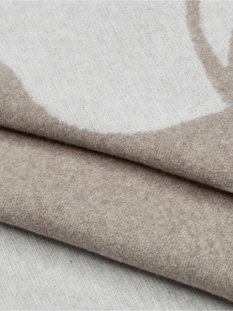 Kuscheldecke Sylt Hirsch in Beige/Braun mit Steppnaht, 85% Baumwolle, 8% Viskose, 7% Polyacryl, Beige, 140 x 200 cm