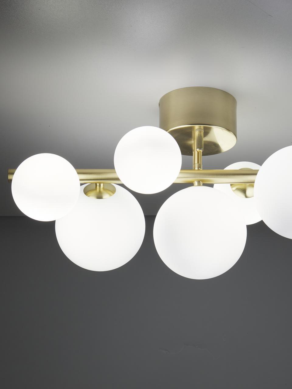 Lampada da soffitto dorata Molecyl, Paralume: vetro opale, Ottone, bianco opalino, Larg. 58 x Alt. 30 cm