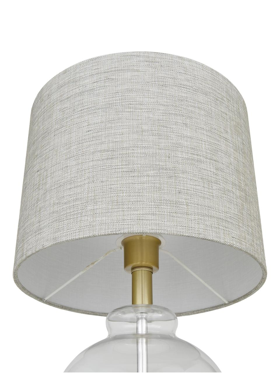 Tafellamp Natty met glazen onderstel, Lampenkap: textiel, Lampvoet: glas, Voetstuk: geborsteld messing, Taupe, transparant, Ø 31 x H 48 cm