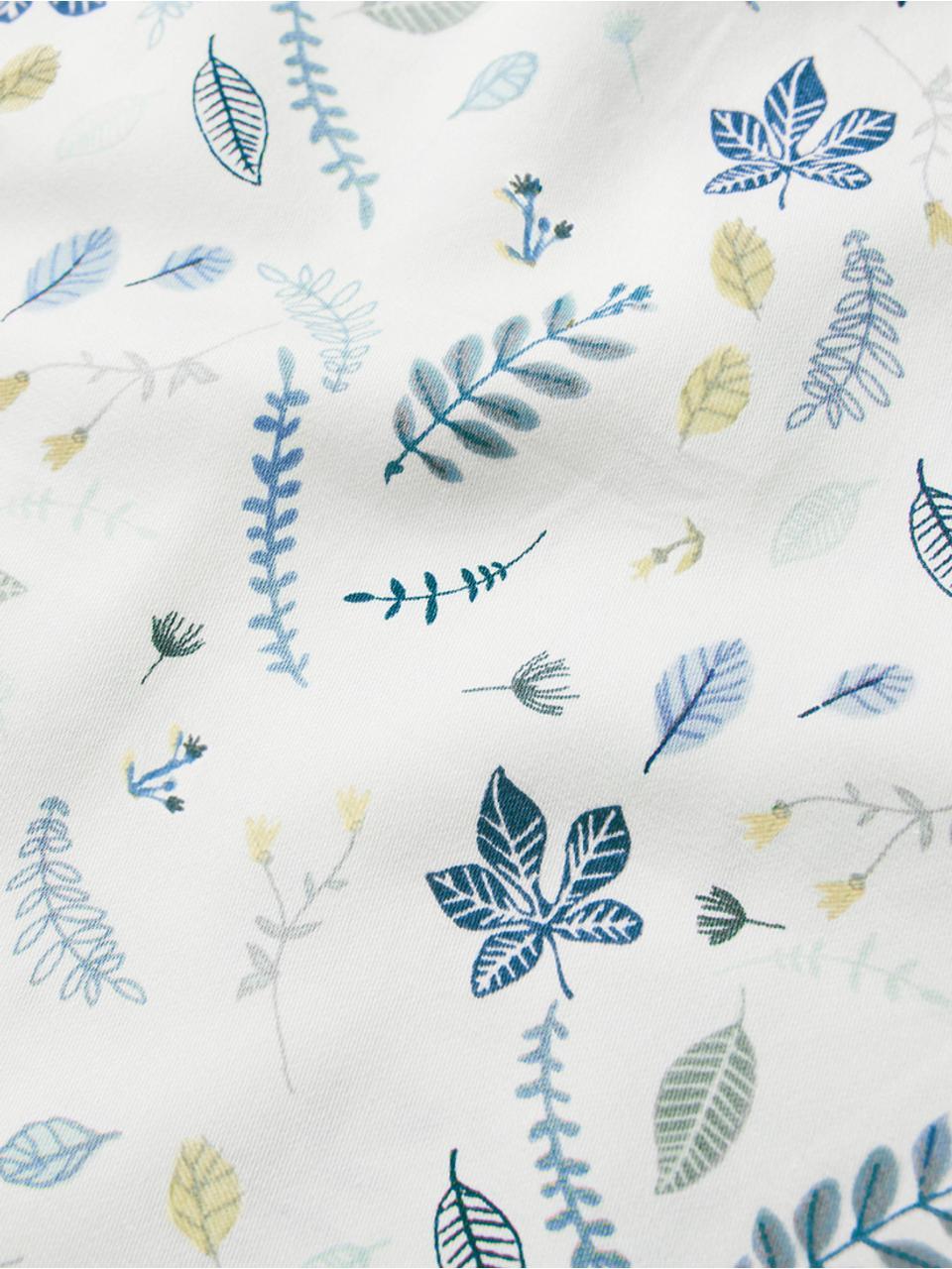 Baumwollsatin-Bettwäsche Pressed Leaves, Baumwollsatin, GOTS-zertifiziert, Weiß, Blau, Grau, Gelb, 100 x 135 cm