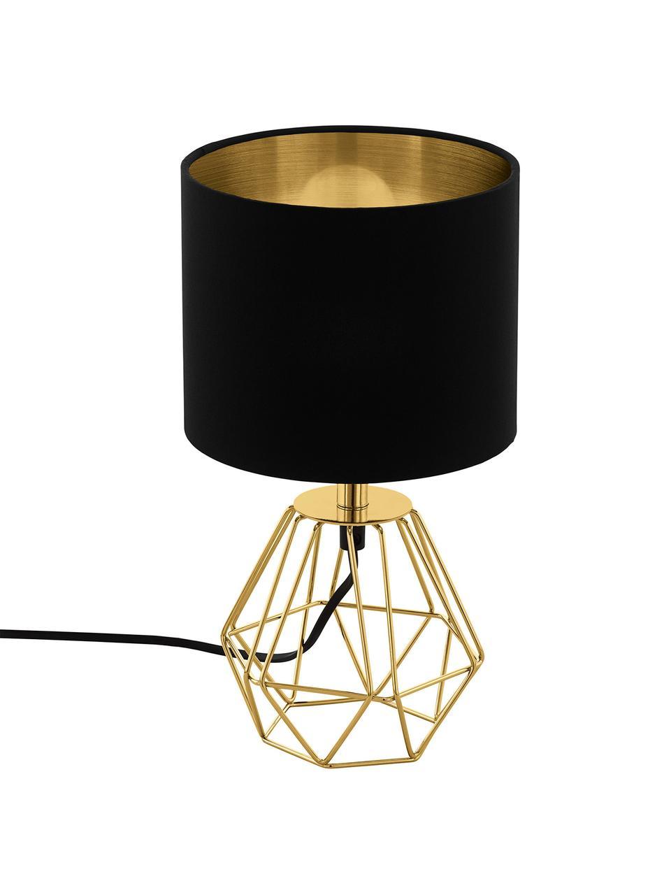 Kleine Tischlampe Phil in Schwarz-Gold, Lampenfuß: Metall, vermessingt, Schwarz, Gold, Ø 17 x H 31 cm