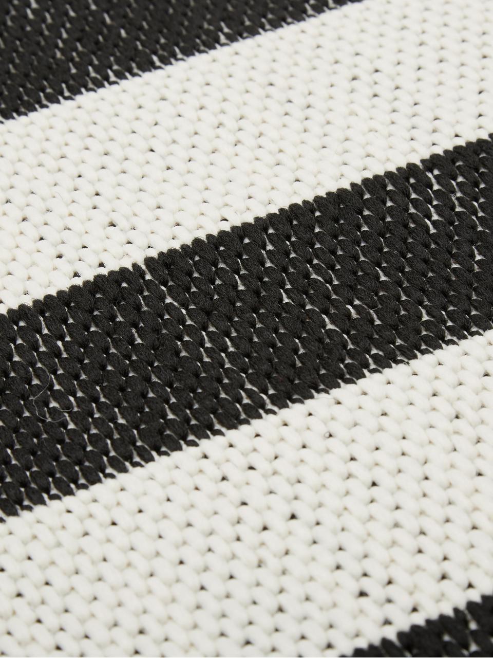 Gestreept in- & outdoor vloerkleed Axa in zwart/wit, 86% polypropyleen, 14% polyester, Crèmewit, zwart, B 200 x L 290 cm (maat L)